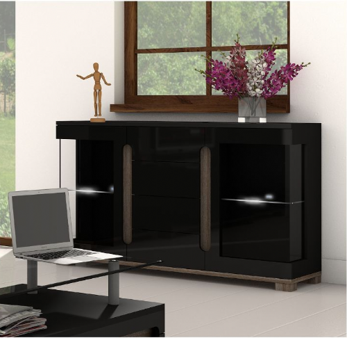 Costa Black Gloss Sideboard Glass Door - 2541